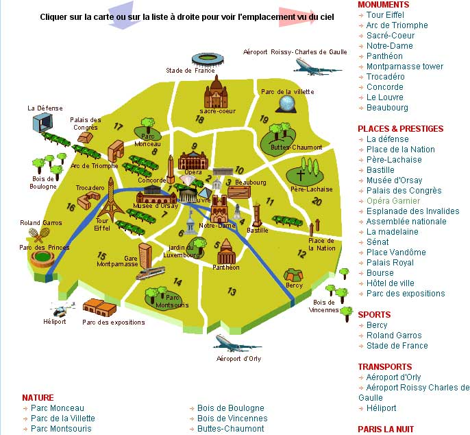 Carte sites touristiques paris my blog for Paris carte touristique